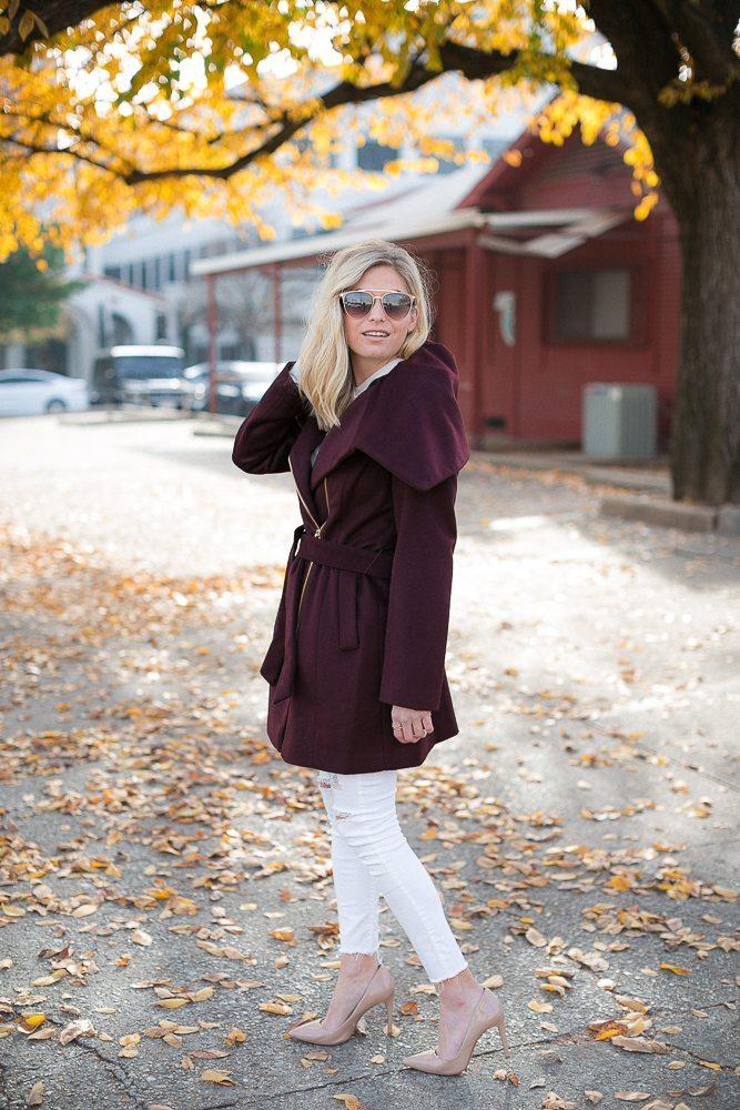 winter wrap coat-burgundy wool coat-cole haan burgundy coat-winter outfit inspiration