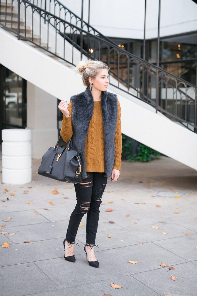 faux fur vest-cable knit sweater-drop earrings-new years eve-dallas fashion blogger