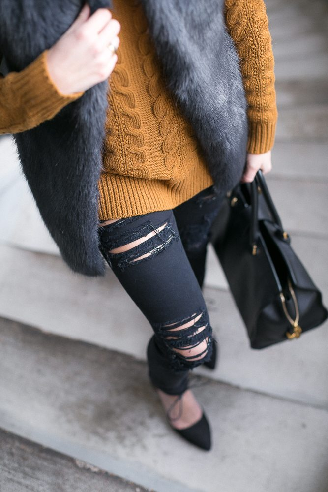 destroyed black skinny jeans-charcoal faux fur vest with cable knit sweater