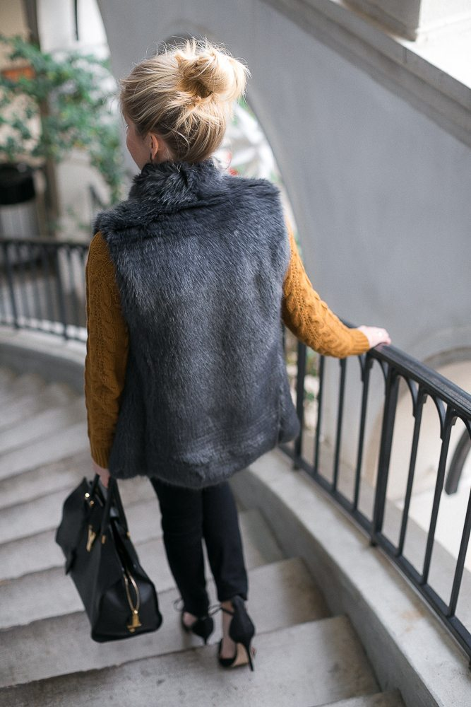 casual new years eve outfit-gray faux fur vest-dallas fashion bloggers