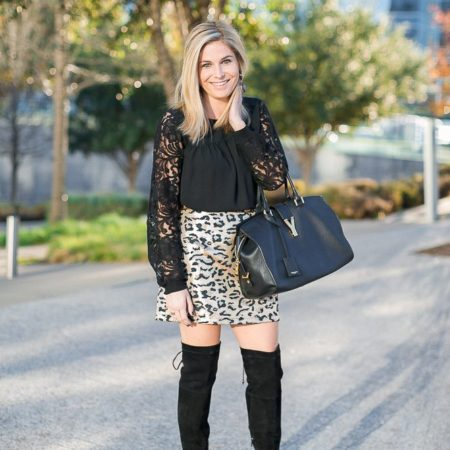 new years eve outfit-leopard mini skirt-black lace blouse-over the knee boots-dallas fashion blogger