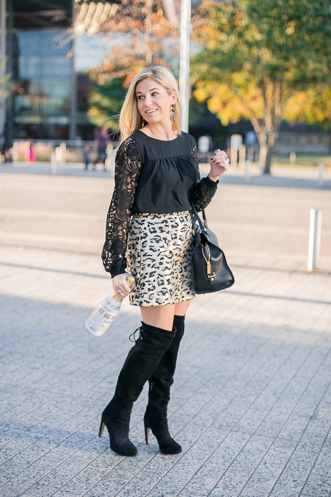 new years eve outfit 2016-black and gold outfit for nye-black lace blouse-gold leopard skirt-black over the knee boots-fashion blogger dallas