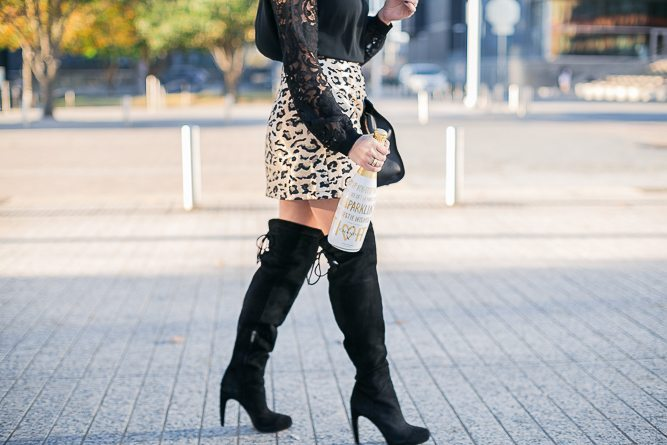 metallic leopard print skirt-over the knee boots-new years eve outfit
