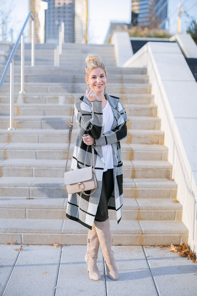 black and white check sweater jacket-gray chloe crossbody-black and white winter outfit-dallas fashion blogger