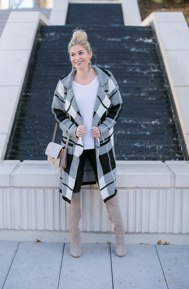 check print sweater coat-black and white outfit-gray suede boots-chloe crossbody bag