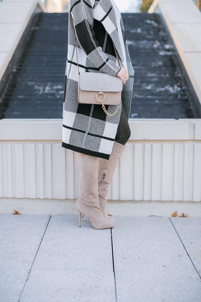 gray chloe crossbody purse-black and white check jacket-winter neutrals