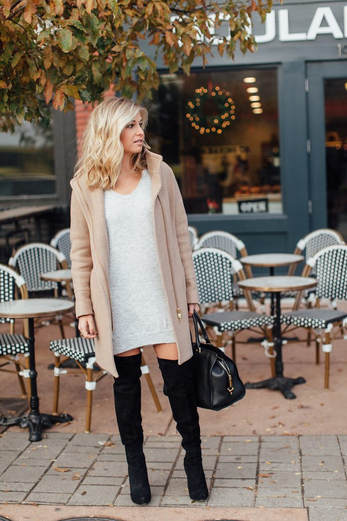 grey sweater dress outfit-camel coat jcrew-sweater dress outfit idea