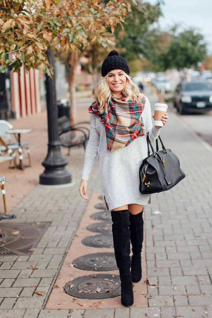 classic plaid scarf-grey sweater dress-black suede over the knee boots-winter daytime outfit-dallas fashion blogger