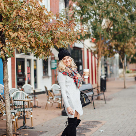 dallas fashion blogger-v neck sweater dress-grey sweater dress with plaid scarf-winter outfit idea
