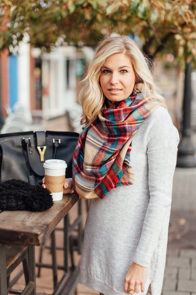red classic plaid scarf-grey sweater dress-street style dallas
