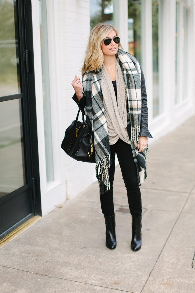 twisted cowl neck top-black check scarf-winter neutral outfit
