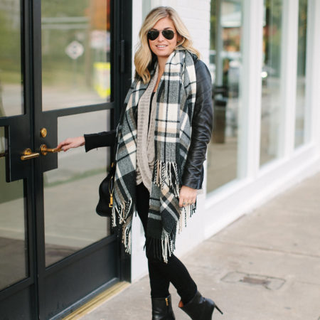 oversized neutral check scarf-black leather jacket-black skinny jeans-black leather booties-winter outfit inspiration-winter outfit idea-winter neutral outfit idea-dallas fashion blogger