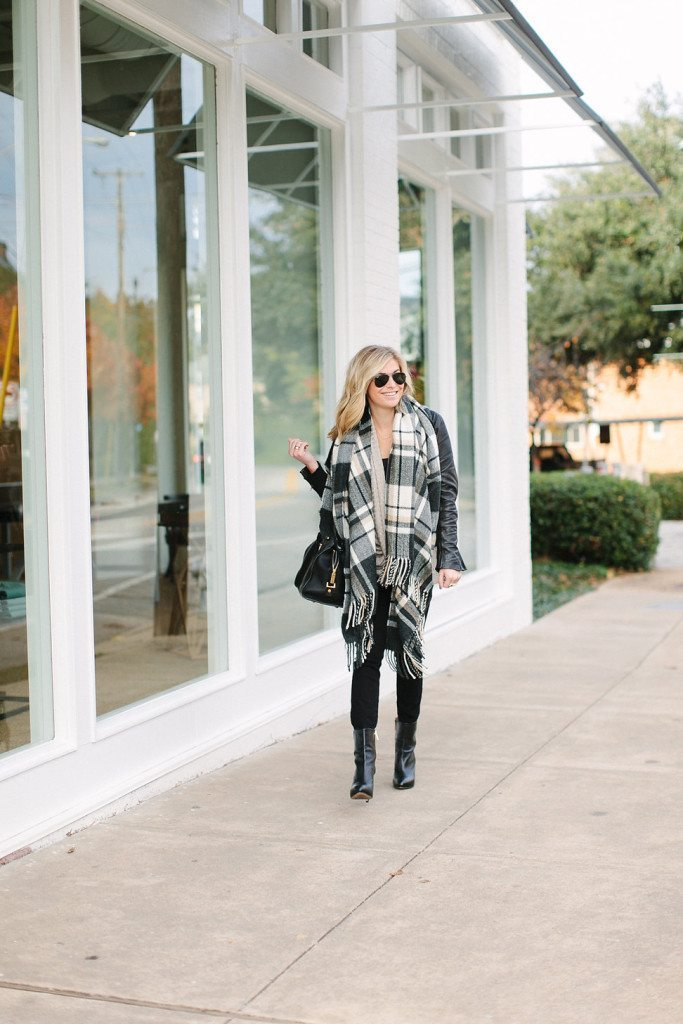 black and camel check scarf-oversized neutral plaid scarf-the perfect pair of black jeans-bobeau shirt-dallas fashion bloggers