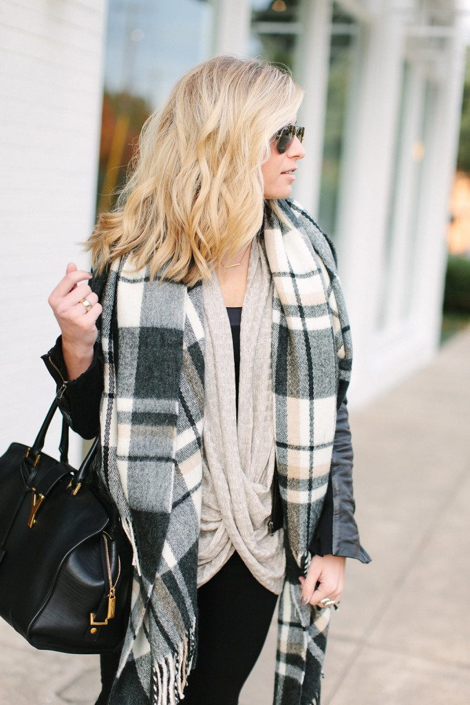 oatmeal twist front top-black check print scarf-layered neutrals