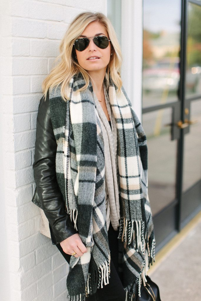 black and white plaid scarf-black leather jacket