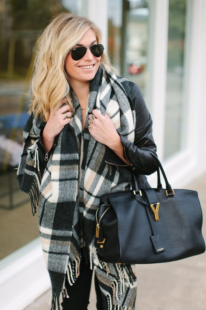 black and white oversized plaid scarf-oversized black and camel check scarf with tassels-YSL black satchel-plaid scarf outfit idea