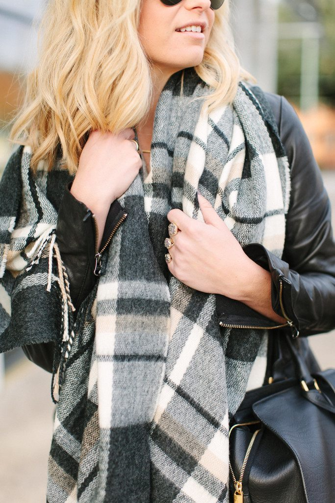 asos check scarf-black plaid scarf-oversized black and camel check scarf