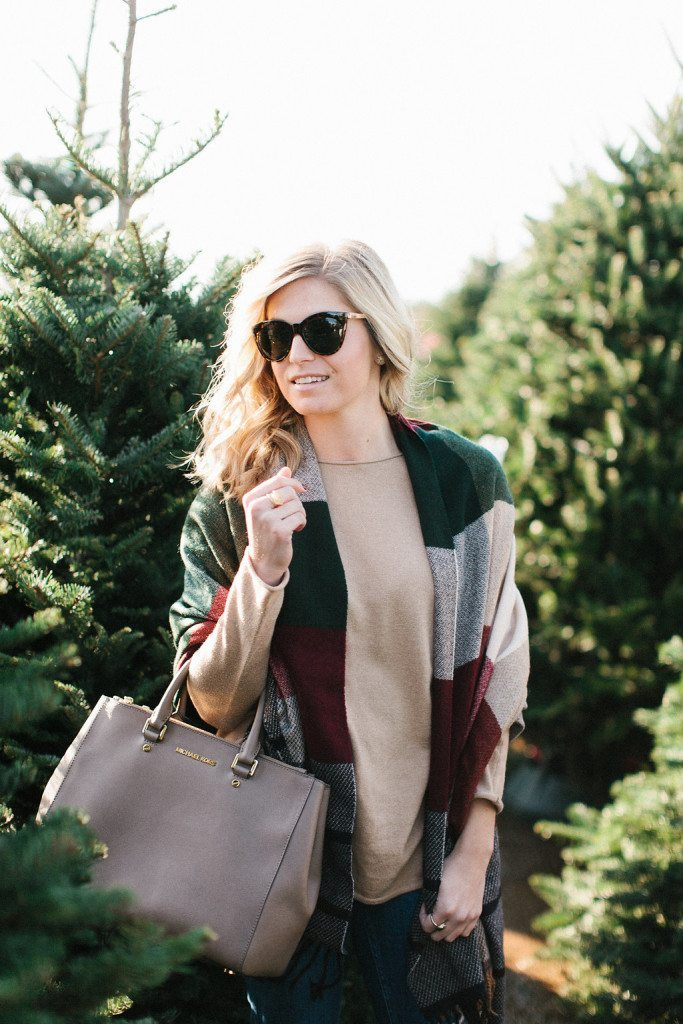 multicolor plaid tassel scarf-cateye sunglasses-winter outfit inspiration-christmas tree farm