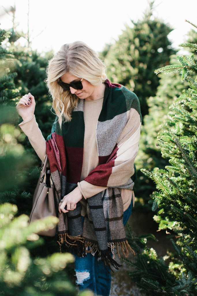 red plaid scarf with camel sweater