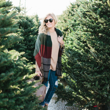 red plaid tassel scarf-holiday outfit-what to wear for christmas-christmas tree farm-dallas fashion blogger
