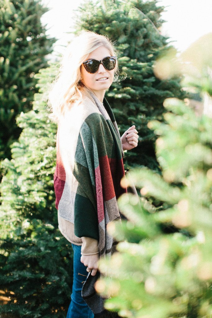 red and green plaid wrap-casual holiday outfit-christmas scarf-dallas fashion bloggers