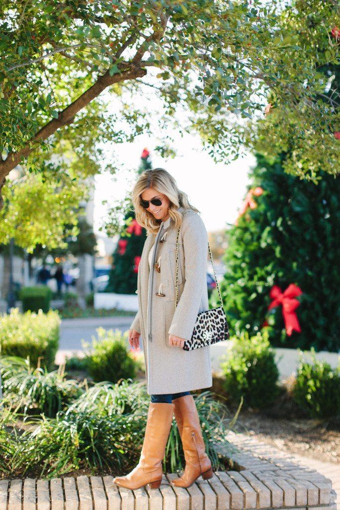 grey longline coat-casual winter coat-leopard purse-inwood village dallas