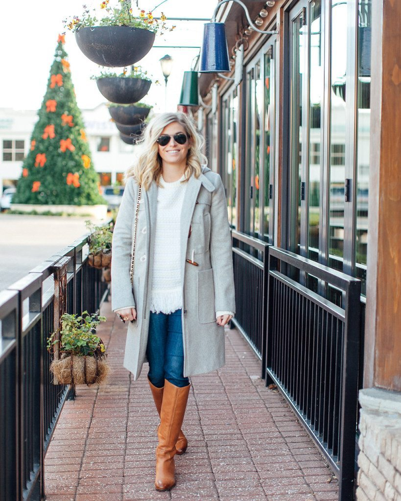 casual gray winter coat-white fringe sweater-camel flat boots-dallas fashion blogger