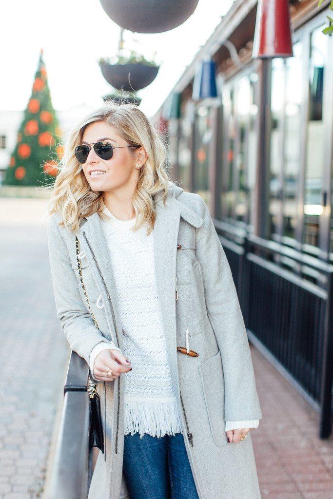 asos duffle coat-topshop fringe sweater-black aviators-winter daytime outfit