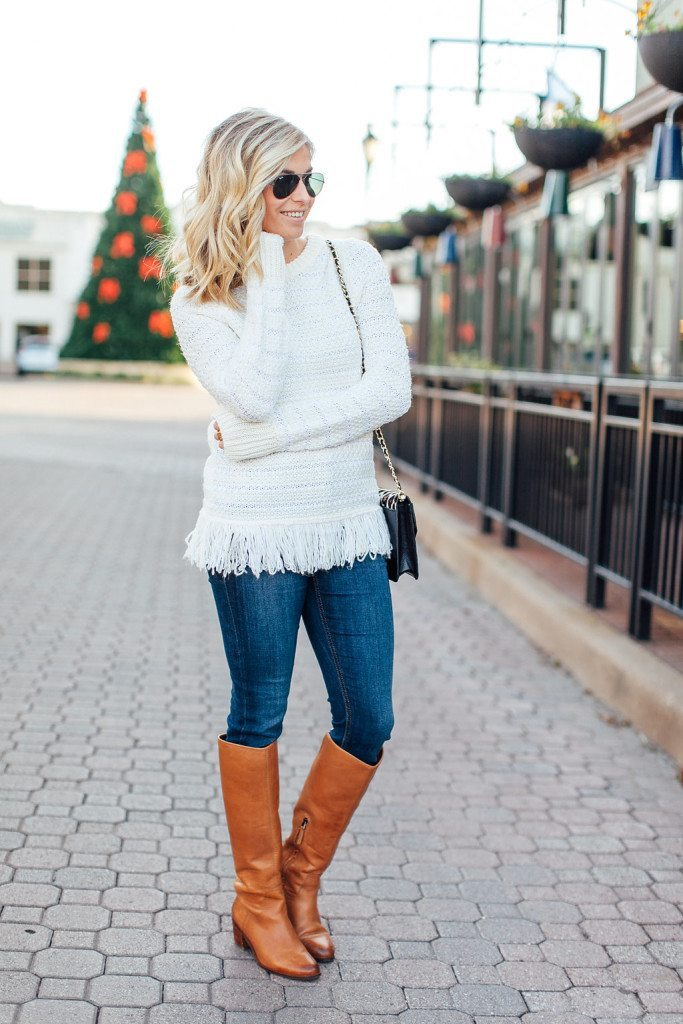 white textured fringe sweater-winter casual outfit-inwood village dallas-flat tan boots-dallas fashion bloggers