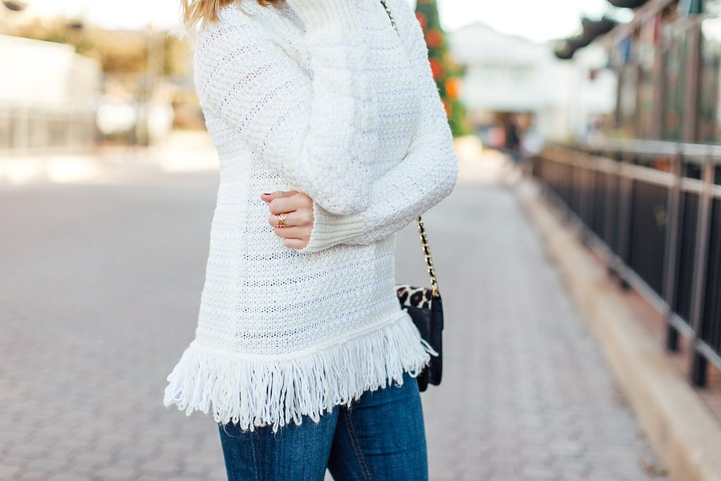 topshop sweater-white textured fringe sweater-winter white sweater