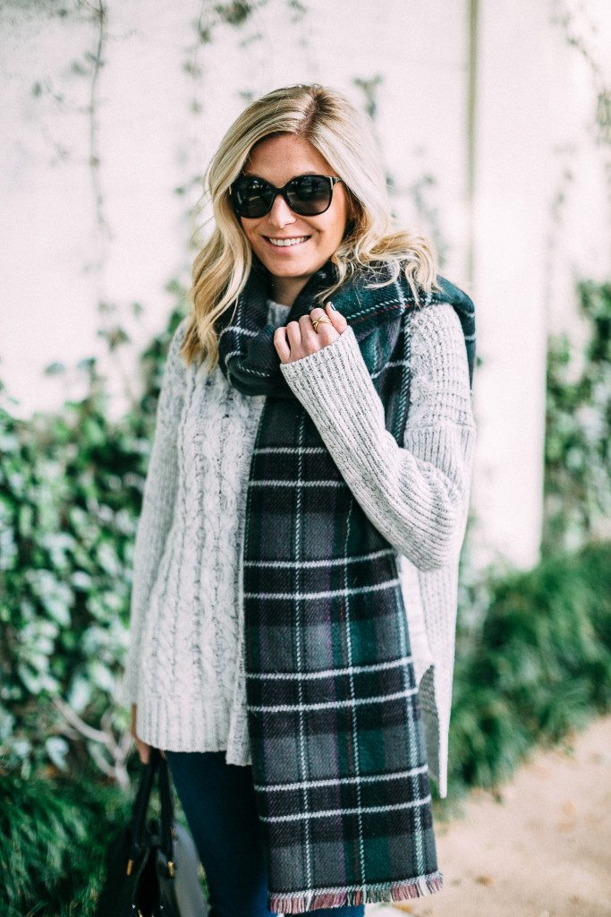 1 state cable knit poncho sweater-plaid blanket scarf