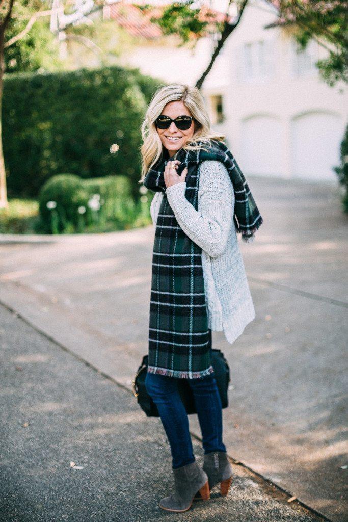multicolored plaid scarf-reversible plaid blanket scarf-fashion blogger dallas