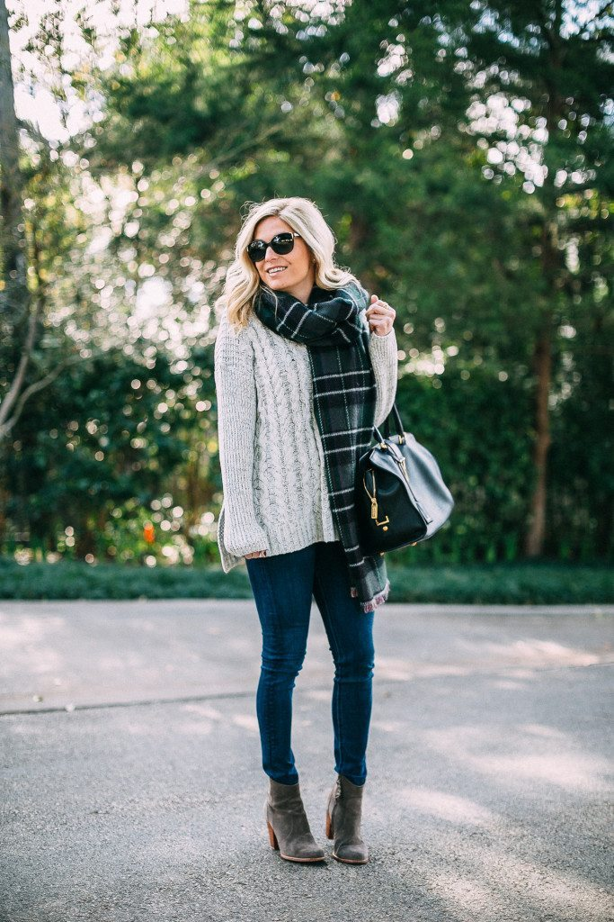 cable knit sweater with plaid scarf-dallas fashion blogger