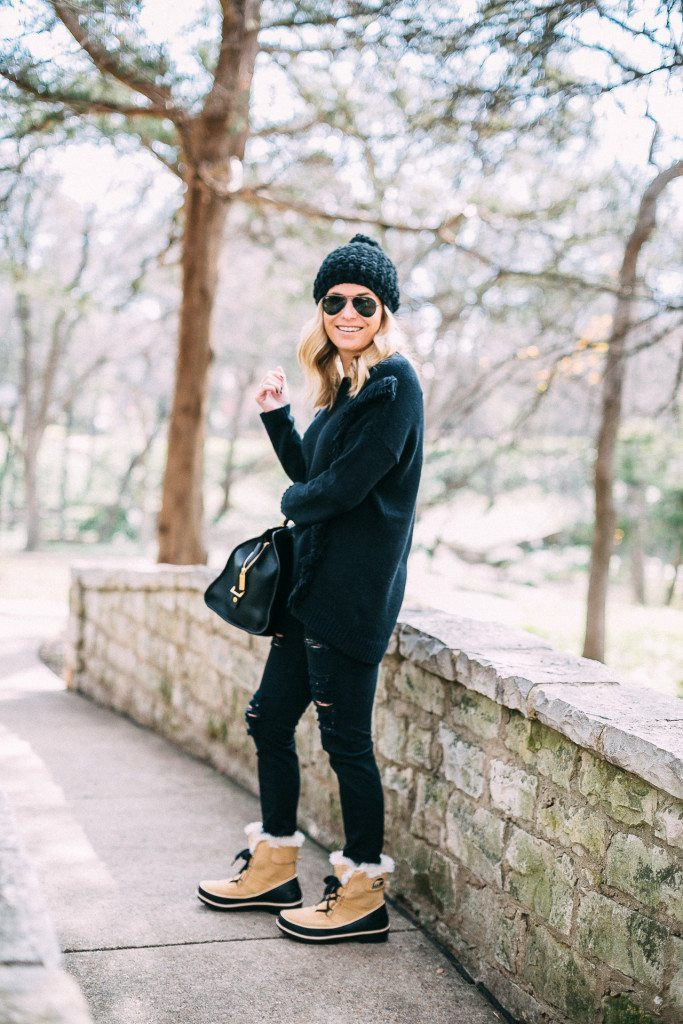 black fringe sweater-sorel short boots-winter outfit inspiration-dallas fashion bloggers