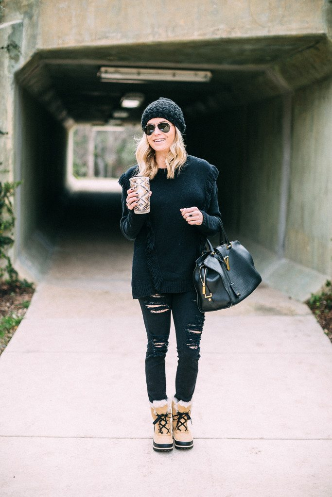 black fringe sweater-casual all black outfit-black winter outfit