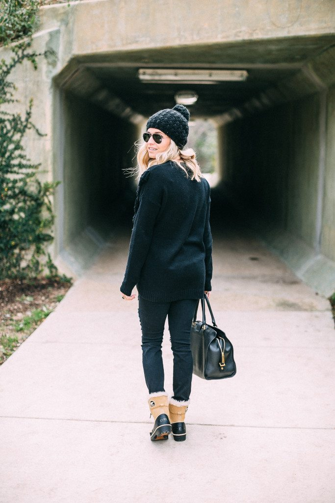 all black winter outfit-basic black sweater-sorel boots