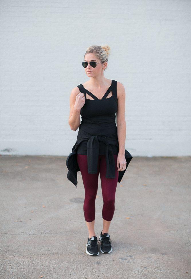 karma yoga top-black yoga top-nux leggings