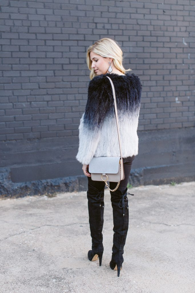 ombre black and grey fur coat