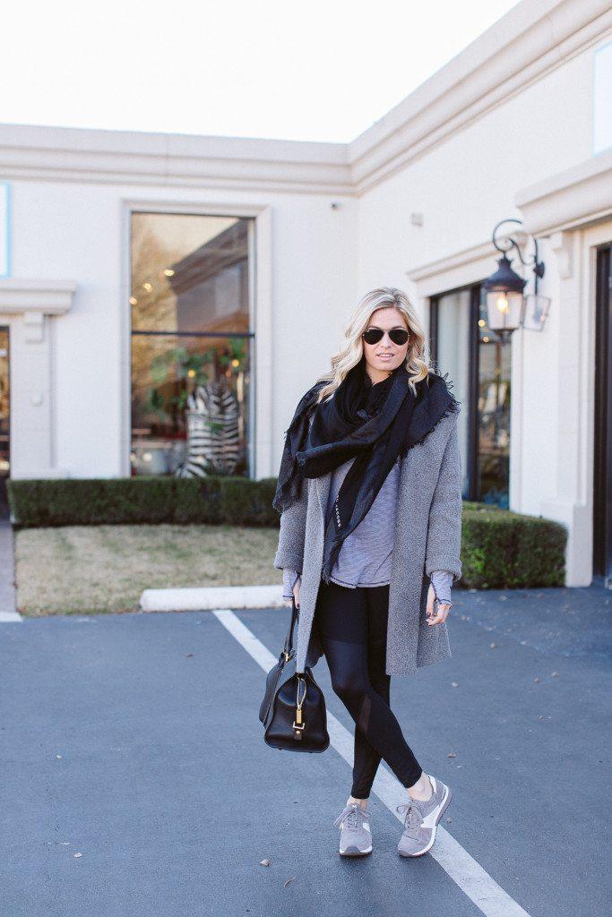 casual workout wear-fabletics leggings-grey coat