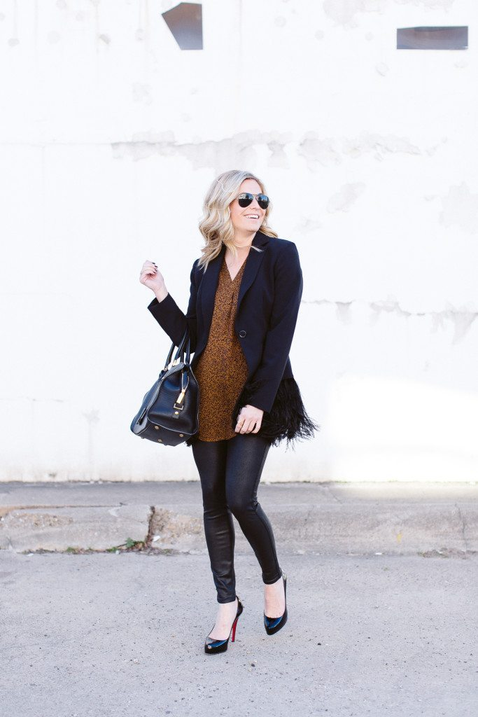 black feather jacket-simple work outfit-black blazer outfit