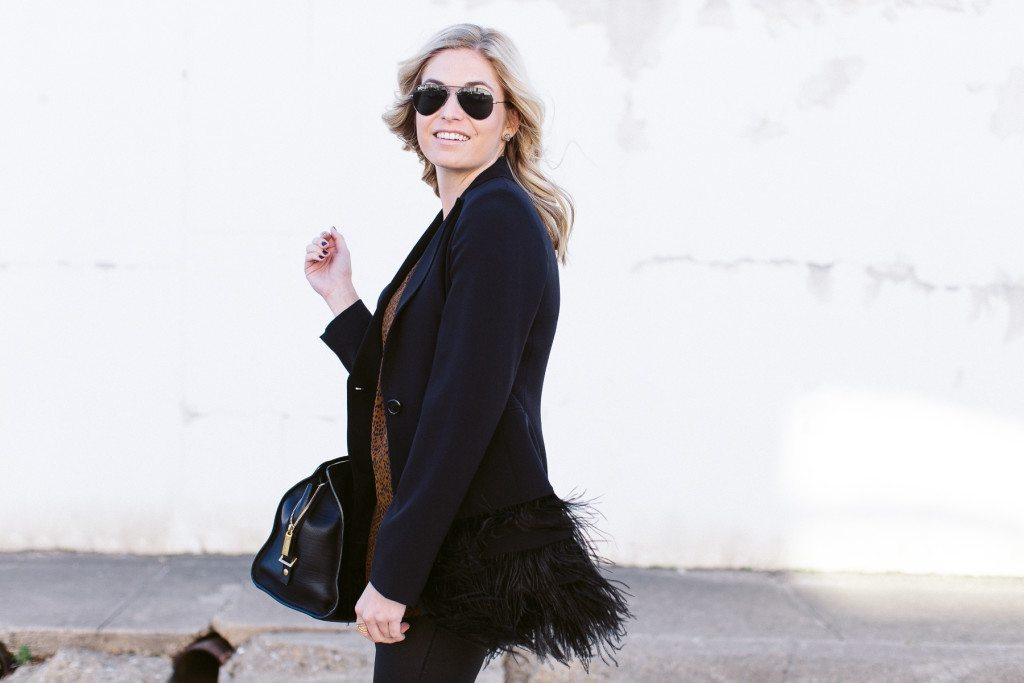 black feather blazer