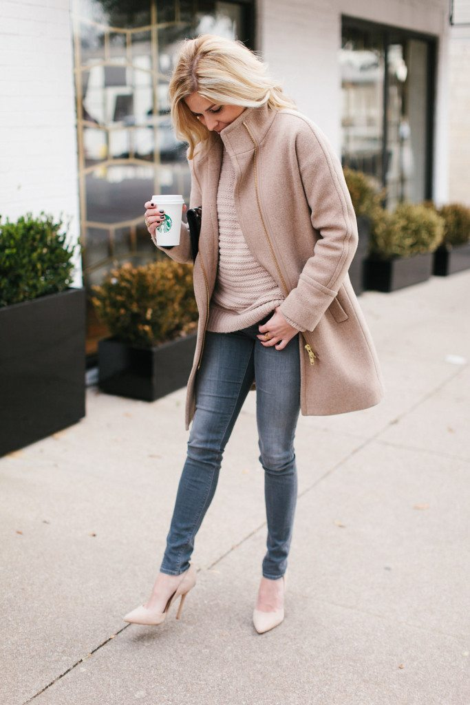 blush sweater with tan coat-winter outfit inspiration-dallas fashion bloggers