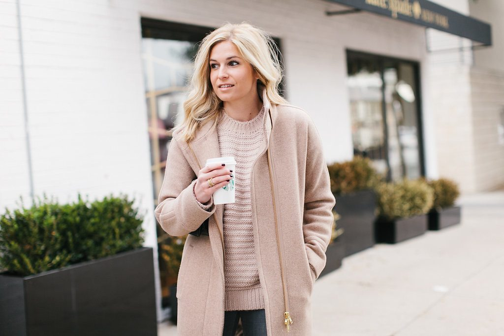 blush sweater tan coat