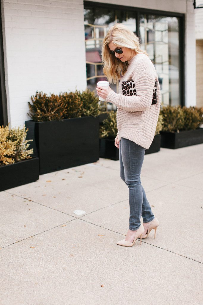 blush knit sweater leopard purse