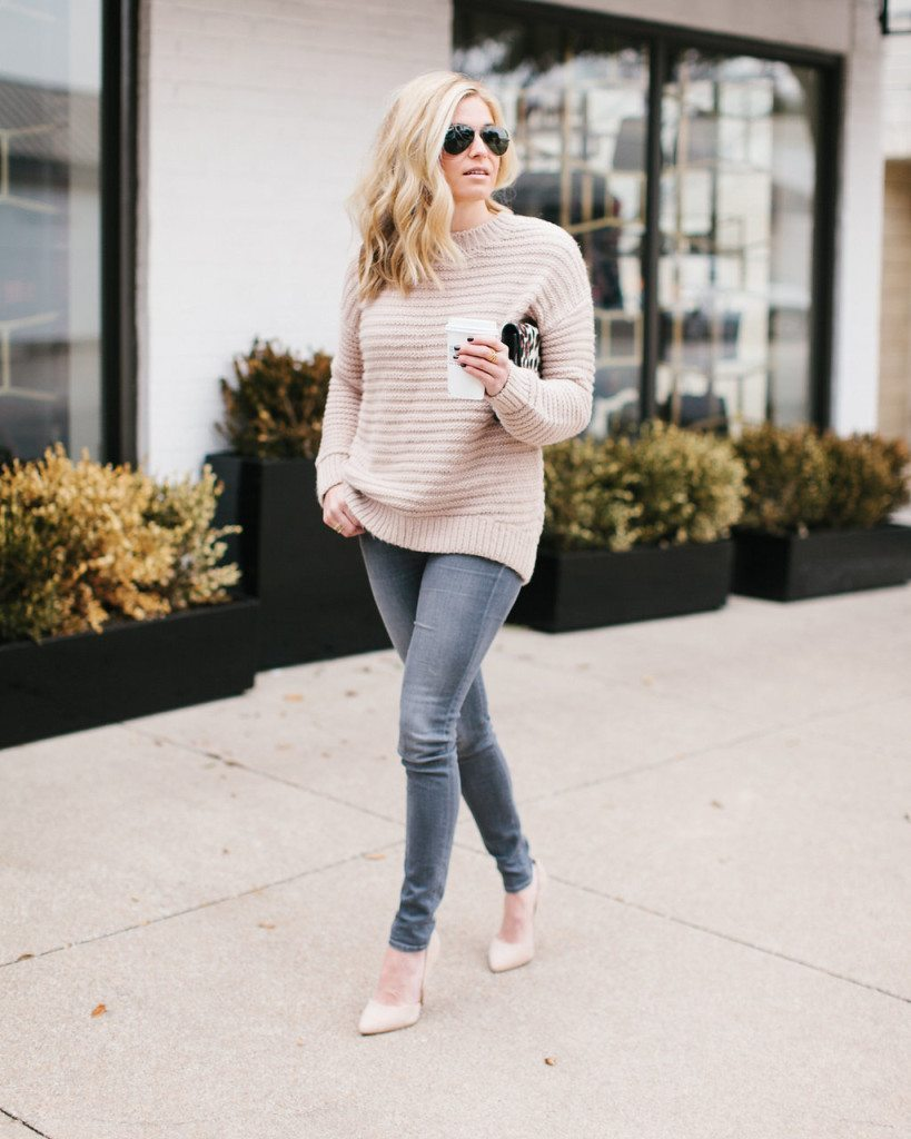 blush sweater-neutral winter outfit-dallas fashion blogger