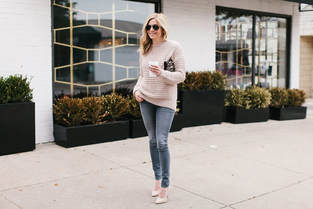 neutral blush sweater outfit