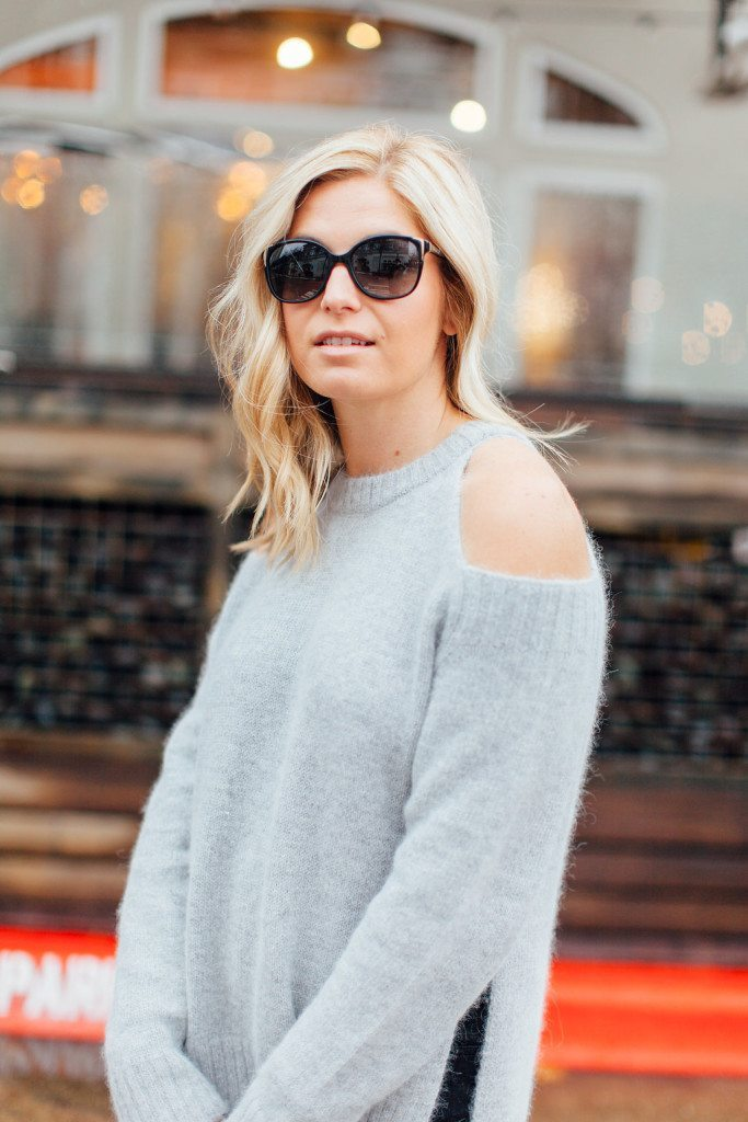 grey cut out sleeve sweater