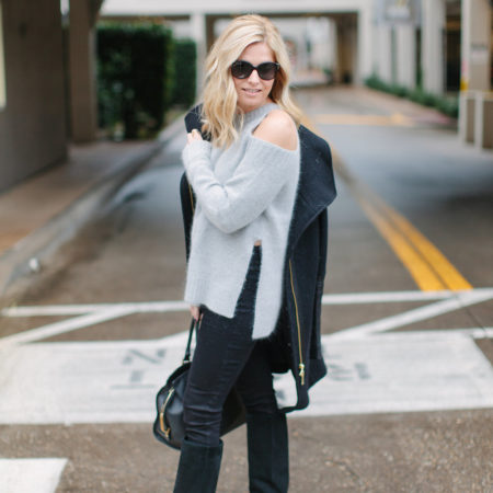 grey cut out sweater-black winter coat-winter outfit inspiration-winter neutrals-dallas fashion blogger