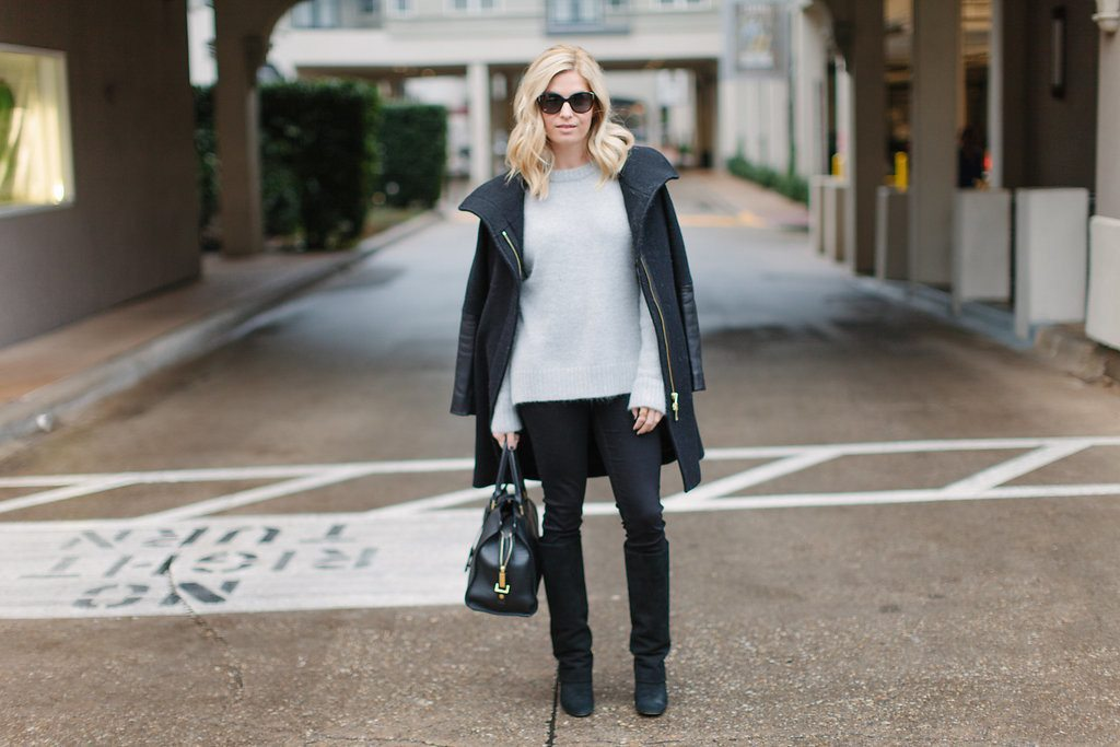 grey sweater with black coat and jeans-neutral winter outfit-dallas fashion bloggers