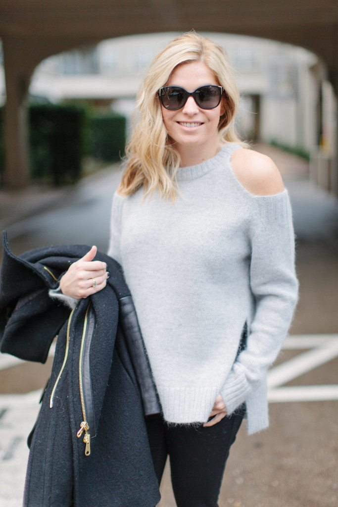 gray cut out shoulder sweater